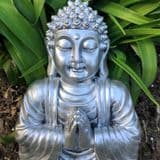 Pewter Effect Meditation Buddha with Palms Closed 28cm Home   Garden Wall Art